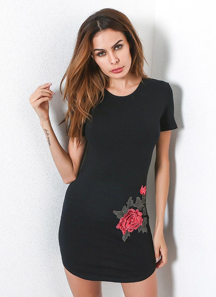 Vintage Flower Embroidery Short Sleeves Elegant Women's Bodycon Dress