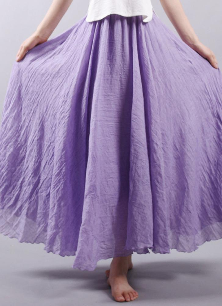 Bohemia color sólido plisado cintura elástica elegante una línea de la falda de las mujeres