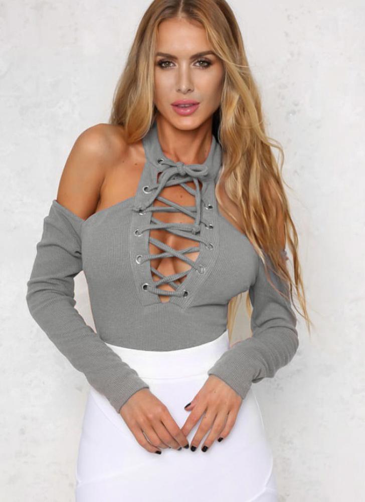 Sexy Ausschnitt-Schulter schnüren sich oben lange Hülsen-Reißverschluss- Frauen Bodysuit 6dc742aada