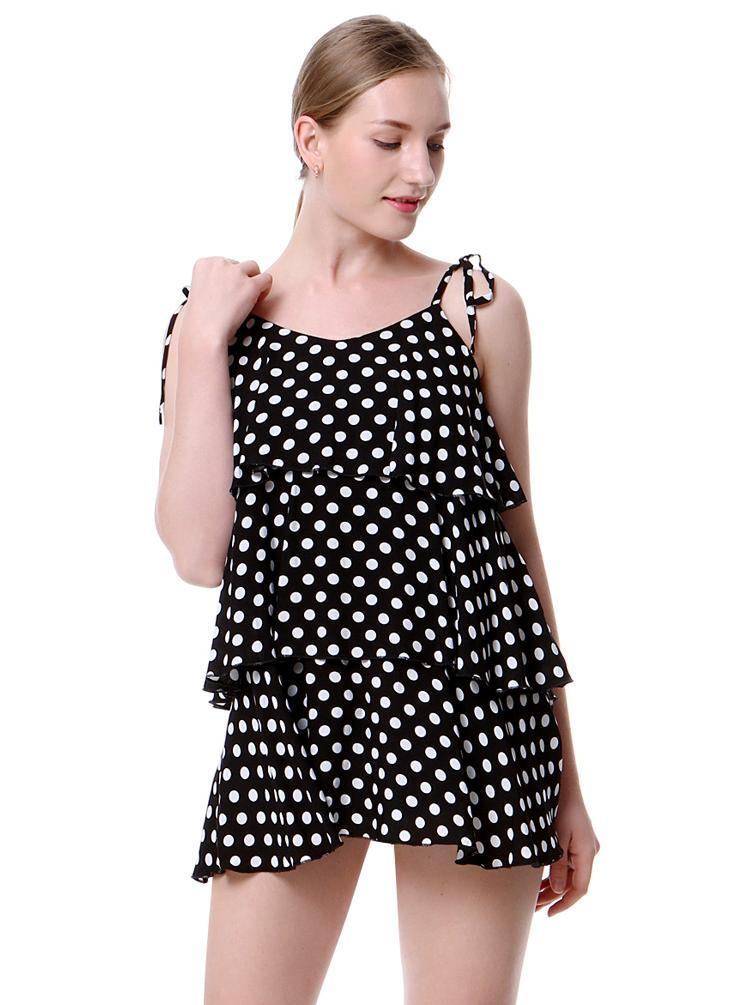 Fashion Polka Dot Print  Strap Frill Trim Open Back Camis Women' Mini Dress