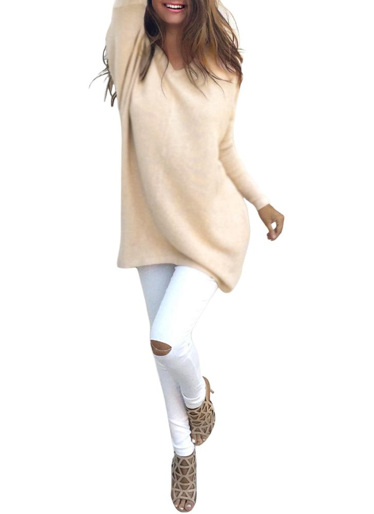 Outono Inverno Tricotado Camisola De V Neck De Oversized