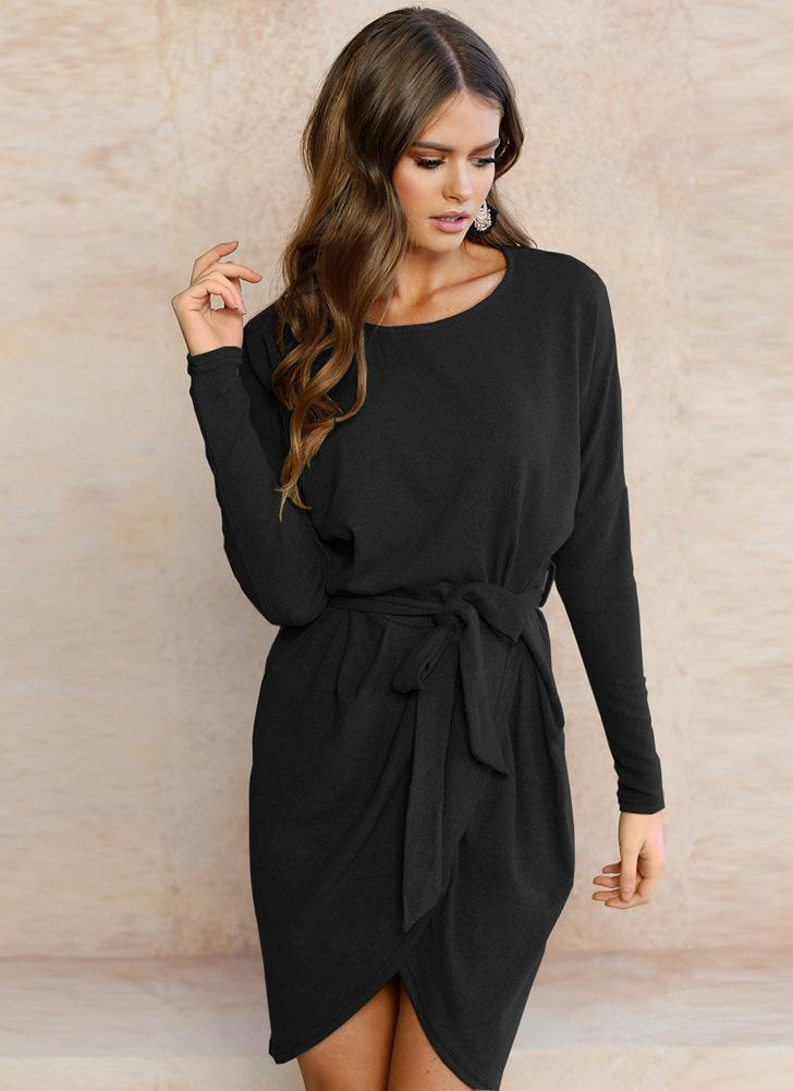 Fashion Tie Waist Round Neck Long Sleeve Women's Mini Dress