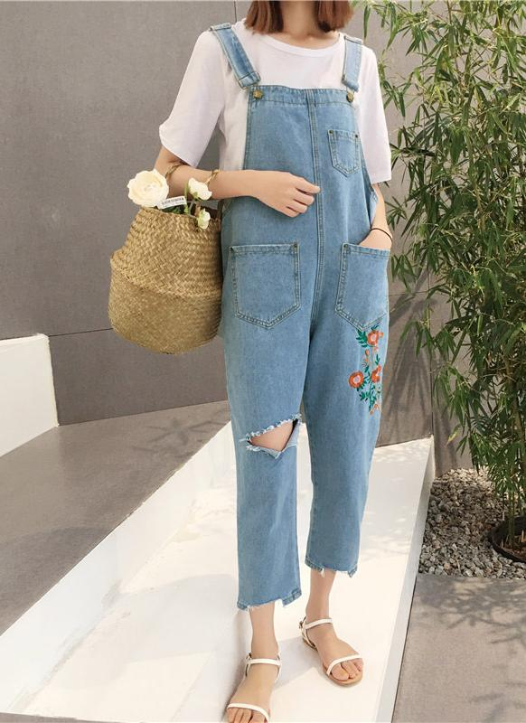Mujeres de la moda Floral Ripped Holes Jeans Playsuit azul claro