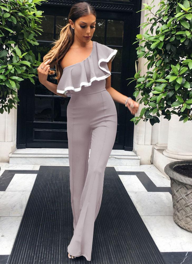Moda Mulheres One Shoulder Ruffles Slim Jumpsuit