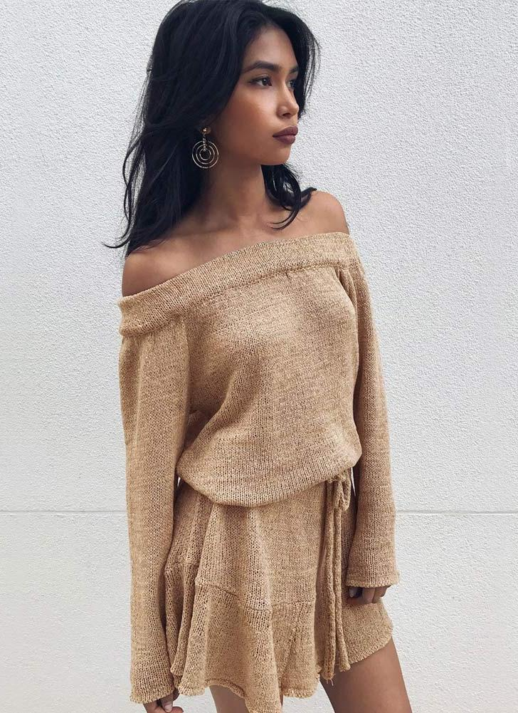 Off Shoulder Mermaid Flare Sleeve Sweater Dress