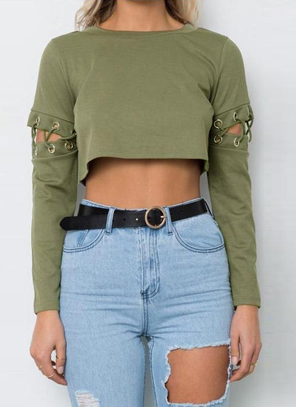 Mujeres Atractivas Lace-Up Bandage manga larga Sólidos Slim Crop Top
