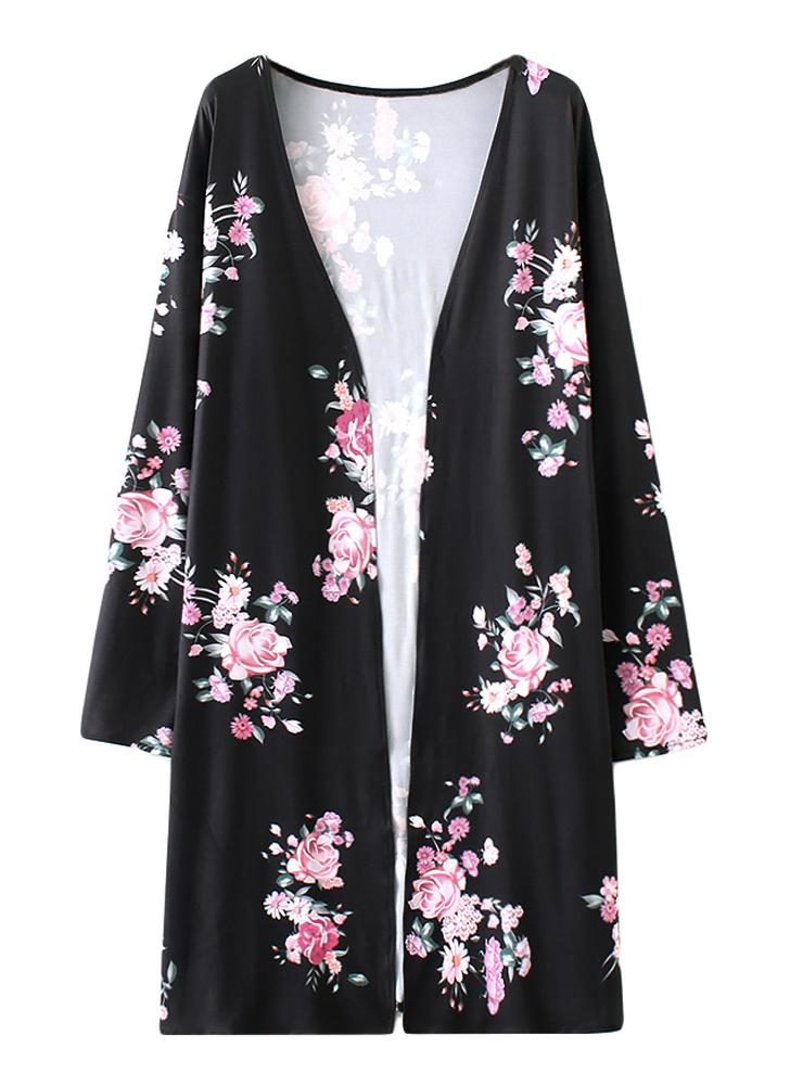 Moda Long Cardigan Front Floral Print Manga comprida Casacos femininos