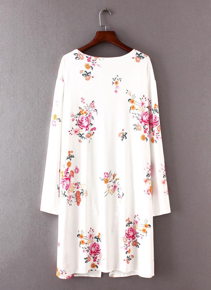 Art und Weise lange Wolljacke-vordere Blumendruck-lange Hülsen Frauen Oberbekleidung