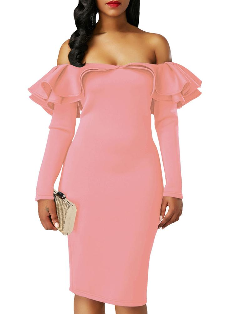 Sexy Off Shoulder Ruffles Solid Long Sleeves Party Mini Bodycon Dress