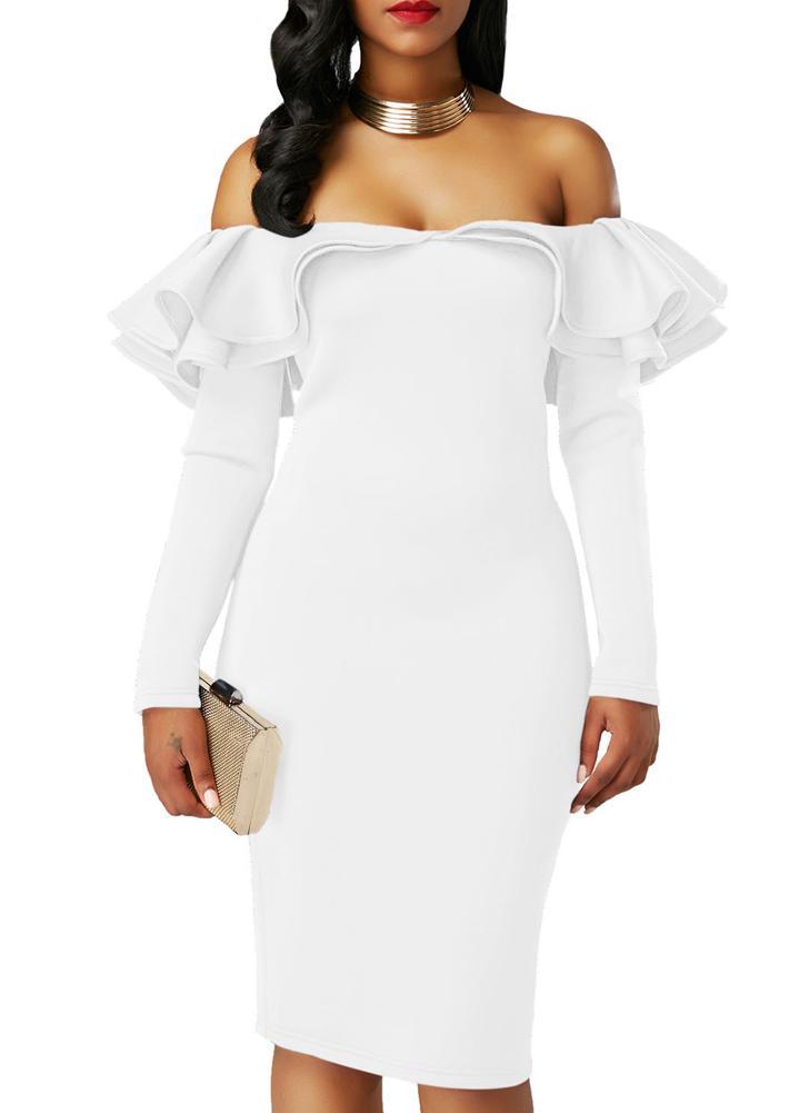 f05e4bf6c35f Il vestito sexy dalle parti superiori della manica del manicotto lungo  Solid Ruffles della spalla