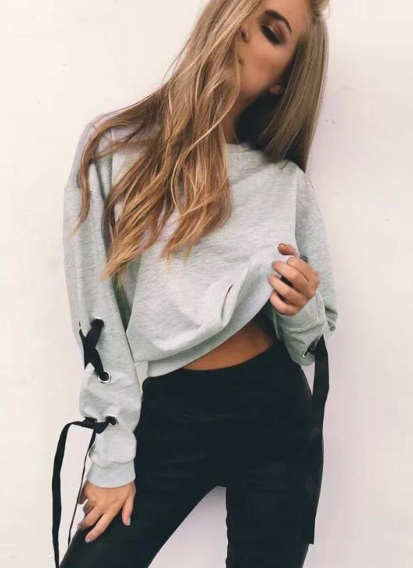 Sweatshirts Lace-Up Bandage Oansatz Langarm Feste Beiläufige Pullover Tops