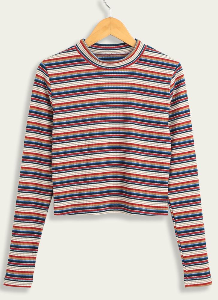 Suéter de rayas de punto de las mujeres ocasionales recortados