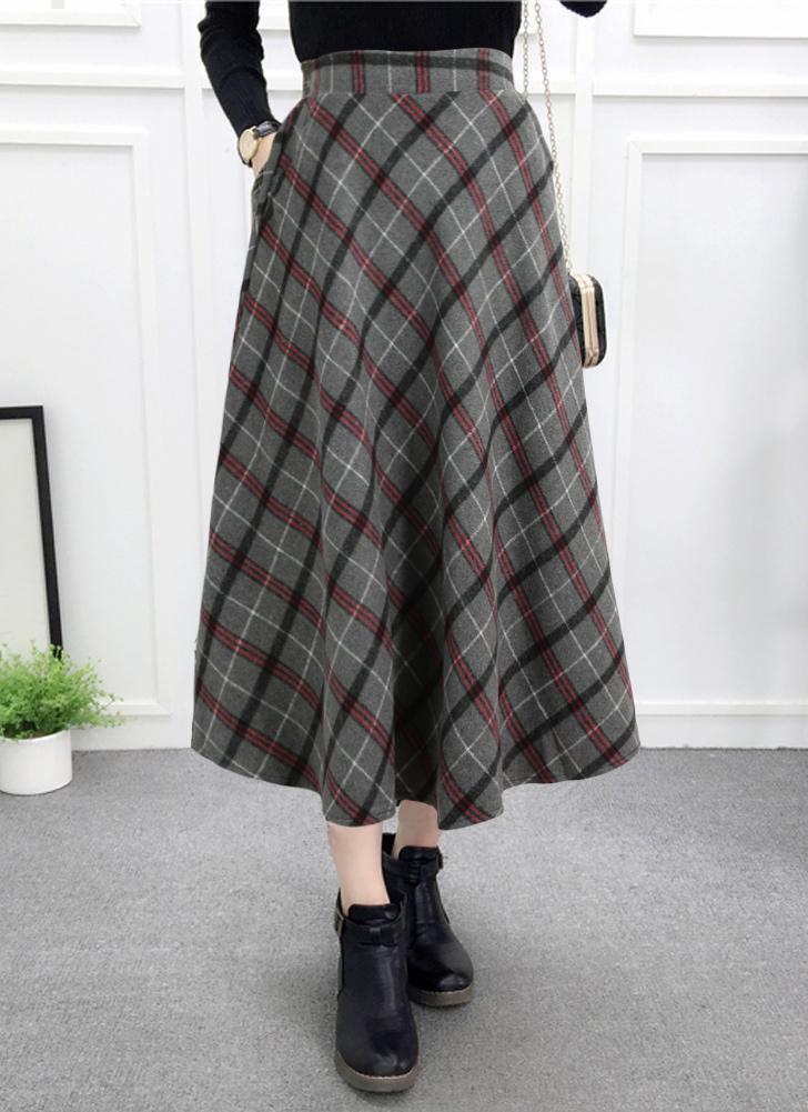 Falda a cuadros de mujer Falda a media pierna de lana con cintura elástica  elegante Faldas efa7c01717fd