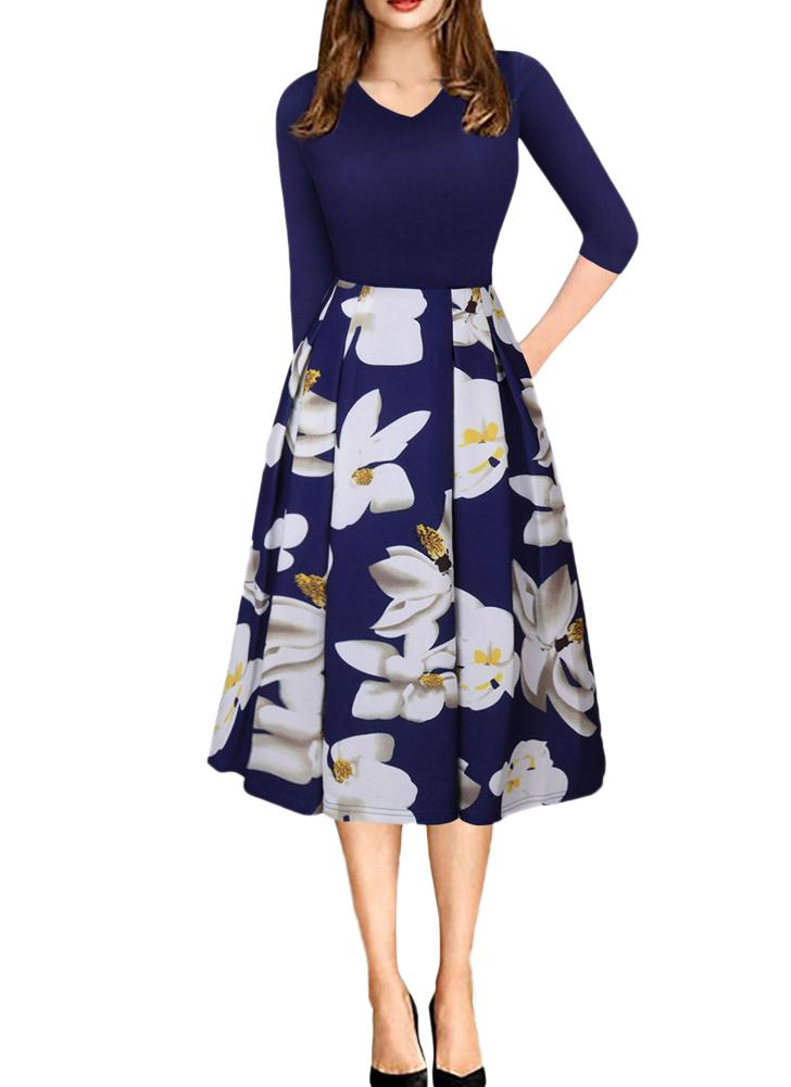 532a70a0ad41 Frauen Vintage V-Ausschnitt Blumendruck Swing-Kleid