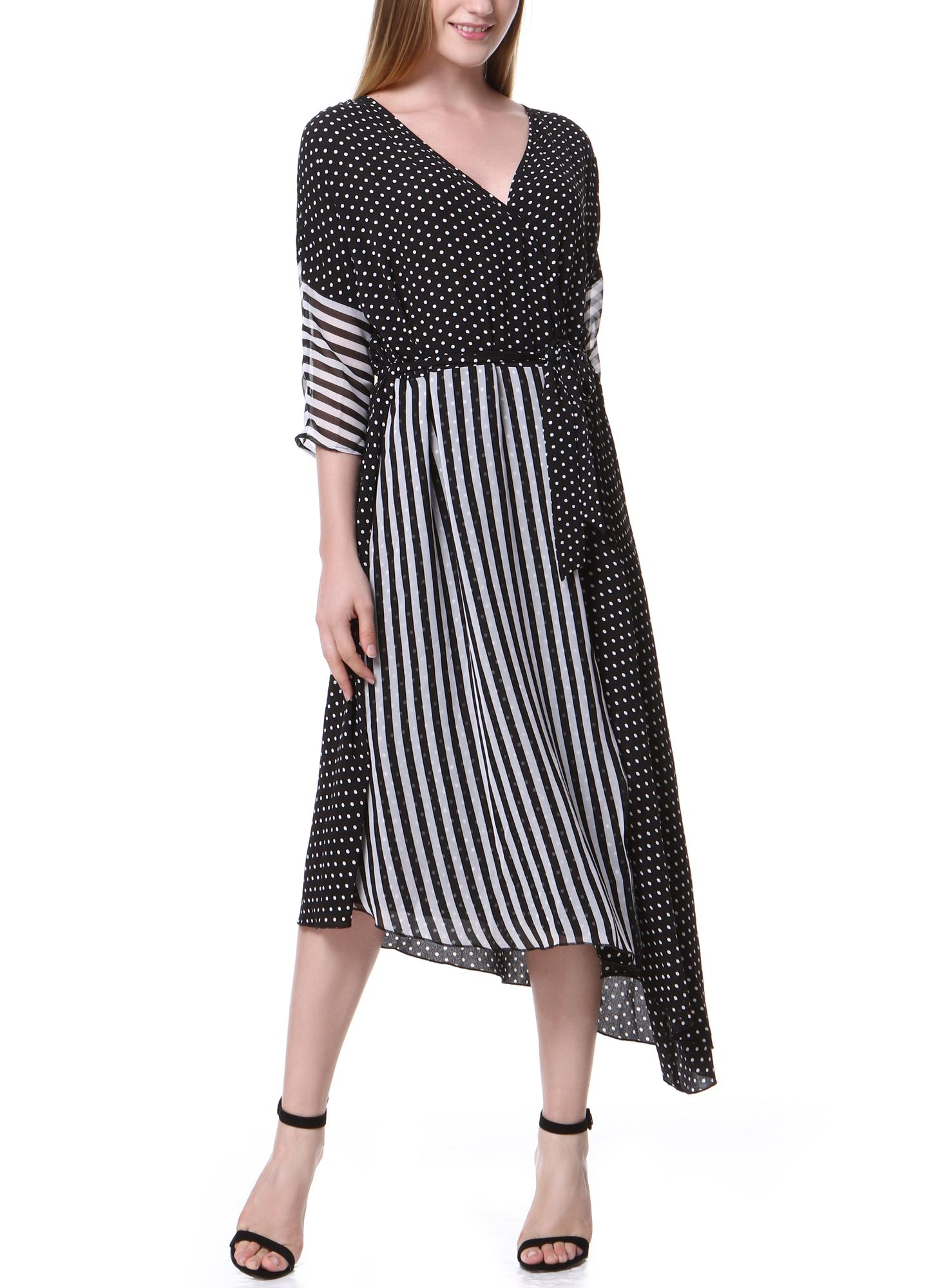 Chiffon Spot Stripe Splicing Asymmetric Dress Tie Waist Elegant Lady Midi Dress
