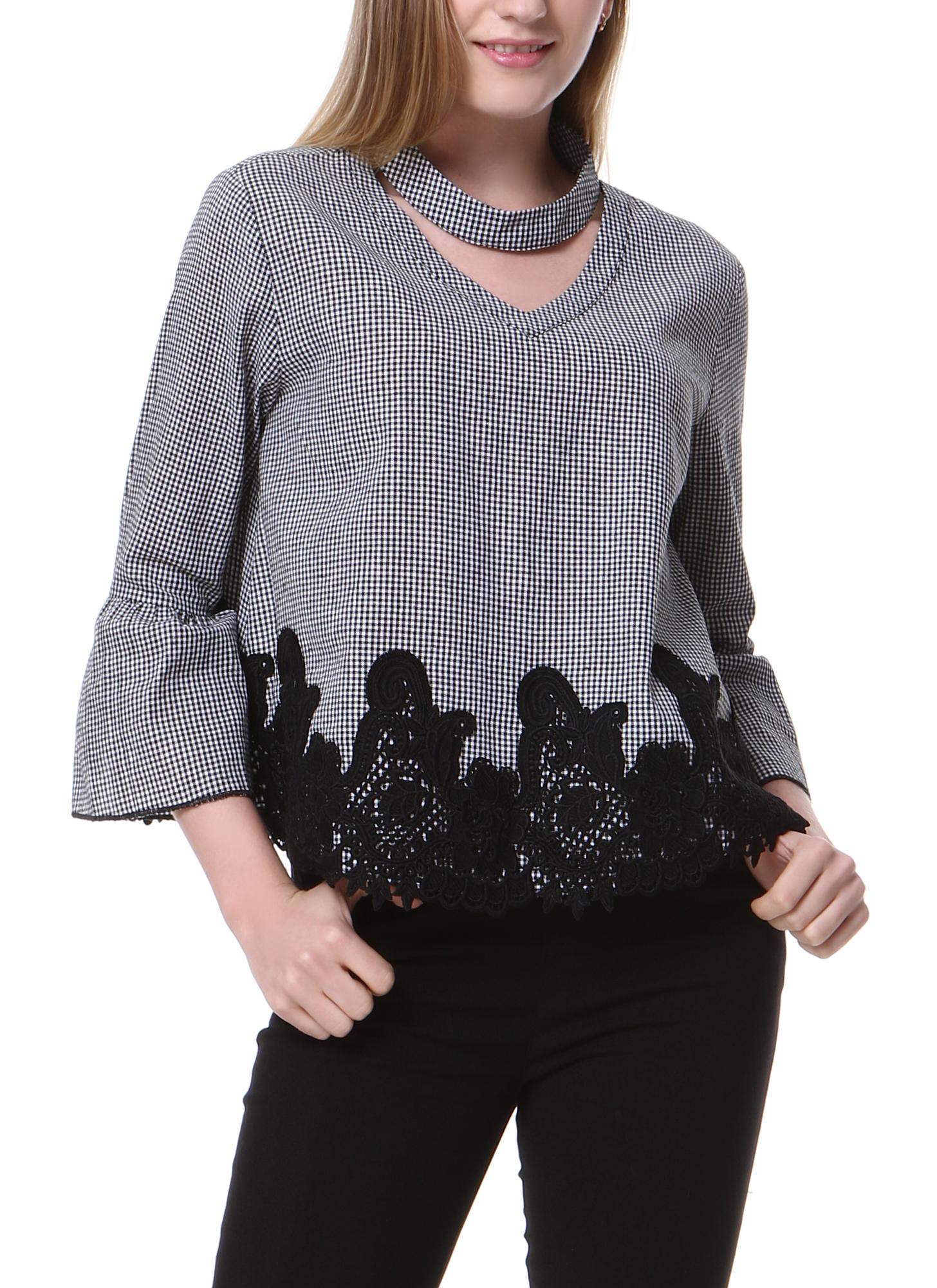 Fashion Plaid Print Choker Neck Flare Sleeve Blouse Crochet Lace Splice Grid Tops