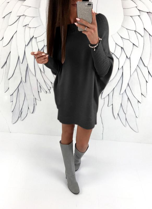 Women Off The Shoulder Batwing Sleeve Casual Loose Knitted Mini Sweater Dress