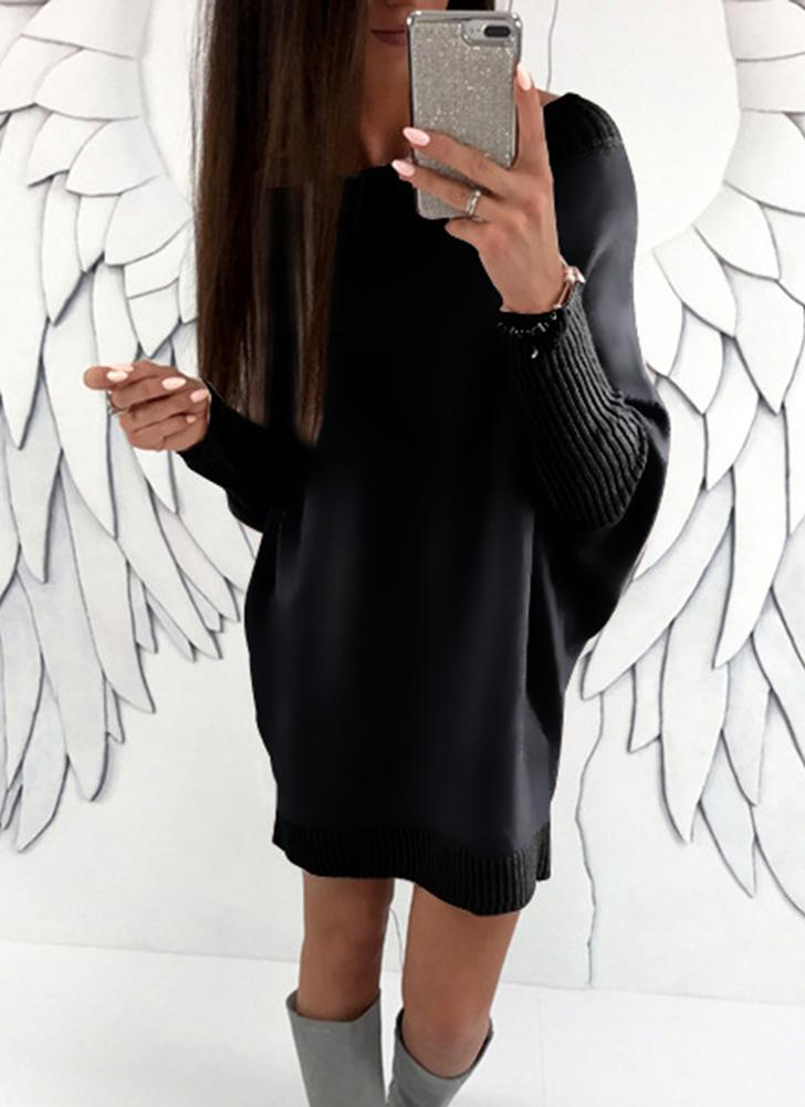 Moda Mulheres Batwing Sleeve Casual Mini Dress