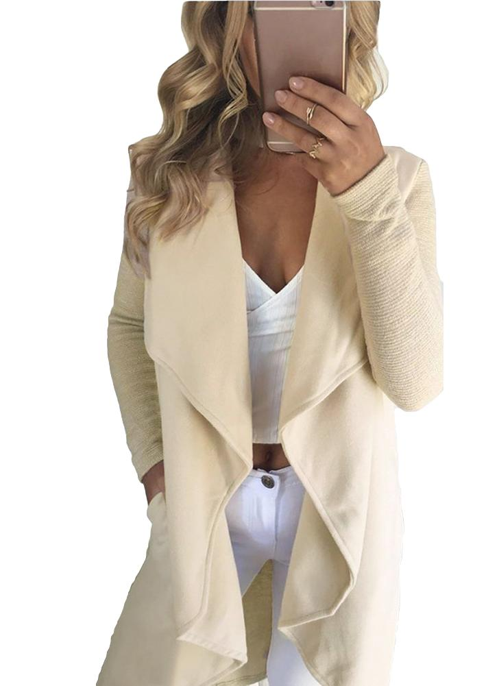 Waterfall Drape Pockets Mangas com nervuras Casual Warm Outerwear Overcoat
