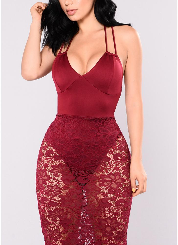 Женское кружевное плечо Back Midi платье Deep V Neck Bodysuit Lining Party Club Evening Bodycon Dress