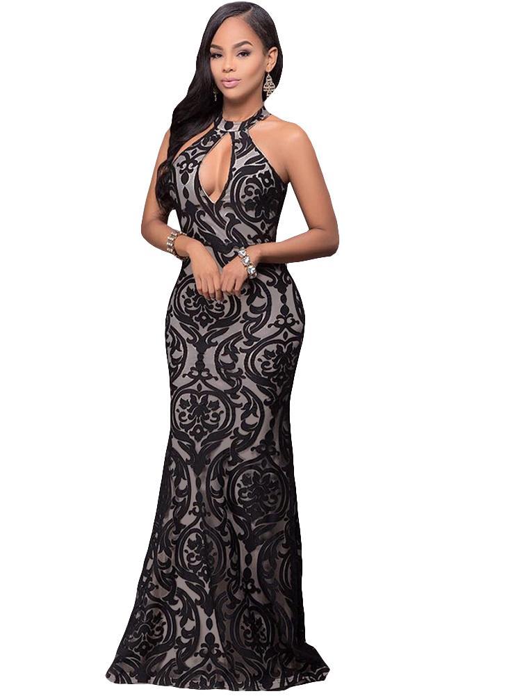 Bodycon Maxi Dress Halter Floral Mesh dos nu sans manches Party Dress