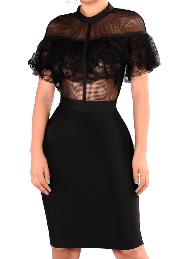 Sexy Frauen Patchwork Sheer Mesh Spitze Rüsche, figurbetontes Kleid 5b1e544188