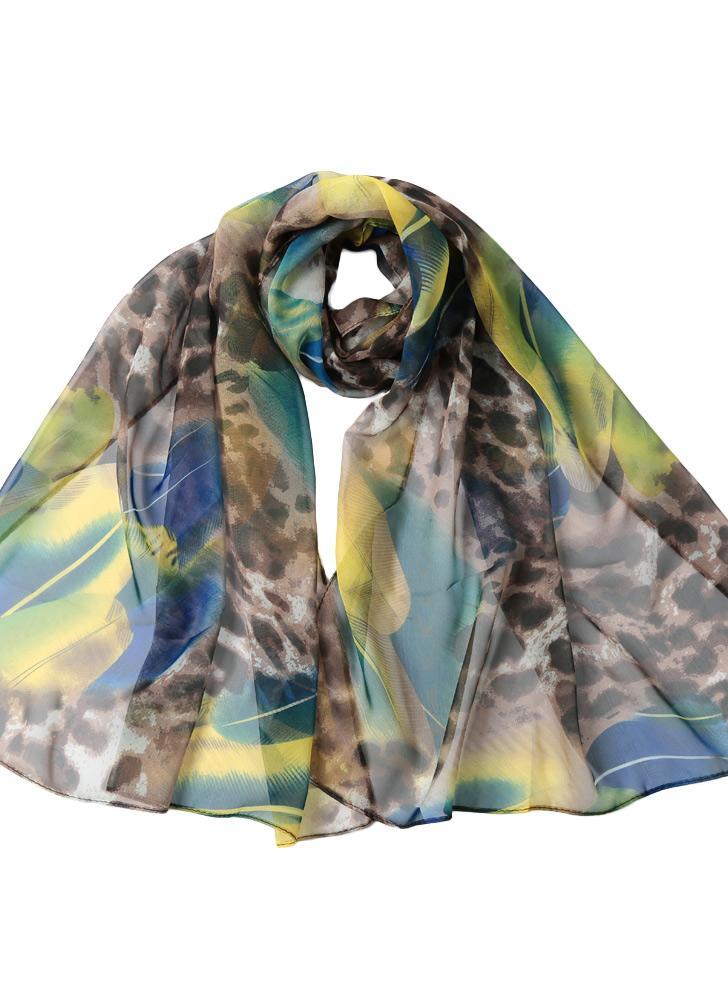Mode féminine en mousseline de soie Leopard Scarf Tout match Contraste  Feather long Châle Vintage Cape 3a206e1afbd