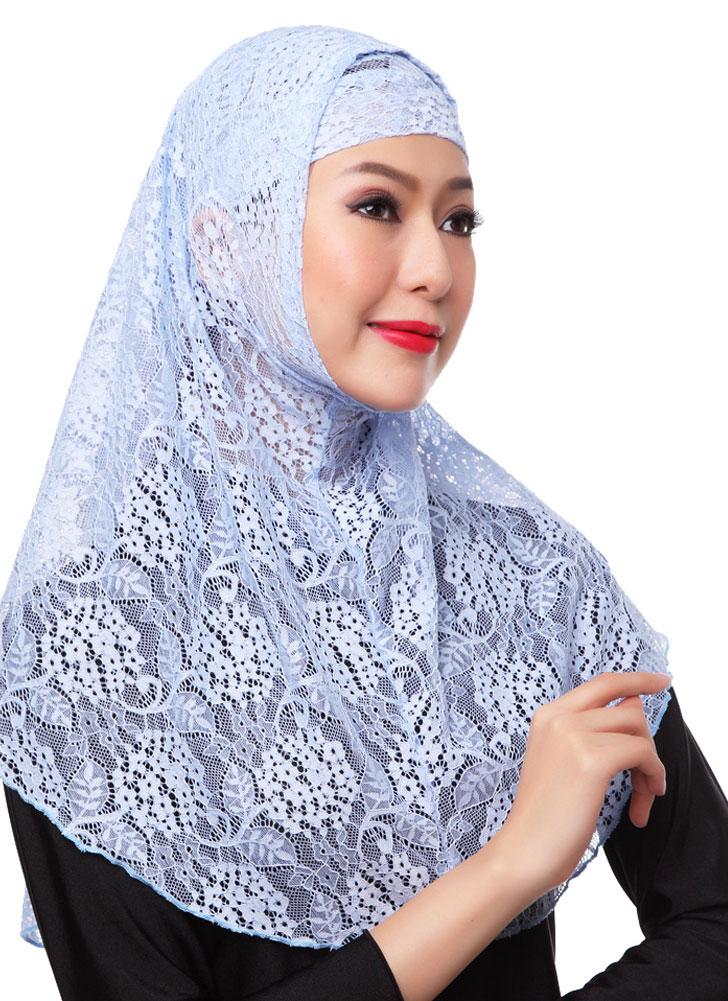 Muslim Hijab Two Piece Set Lace Solid Islamic Turban Cap