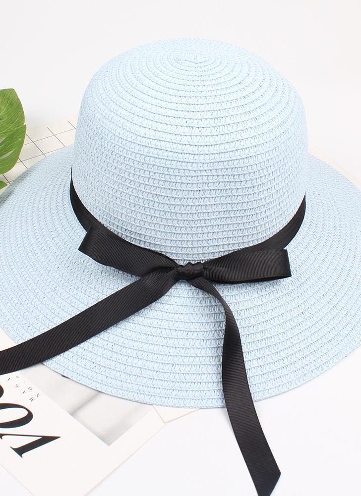 Sombrero de paja de mujer de verano Sombrero de cinta Arco ancho Sombrero de playa de sol Sombrero de fieltro Trilby de Fedora
