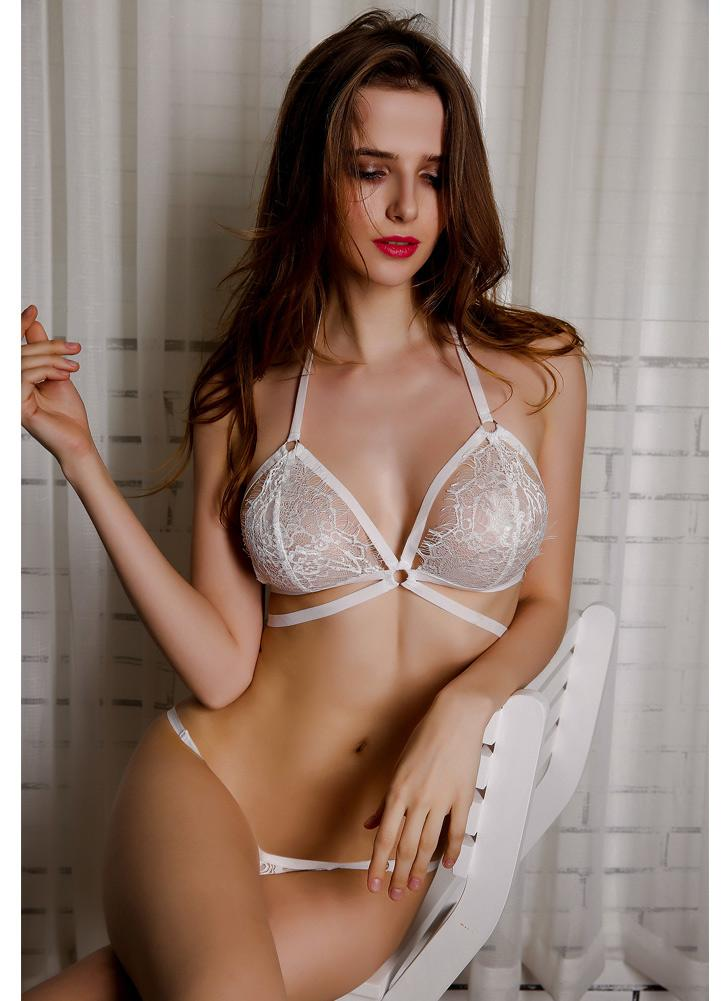 f7674942d3 Sexy Eyelash Lace Sheer Transparent Cup Seamless Lingerie Intimates