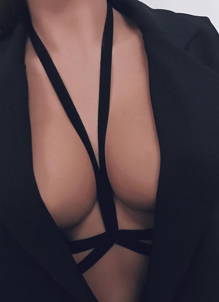 Сексуальная обмундирование Body Cage Halter Elastic Strap Cupless Women's Bralette