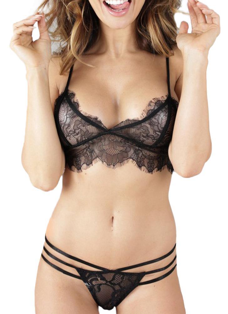 Sexy Sheer Кружева Strappy ремешками женщин Lingerie