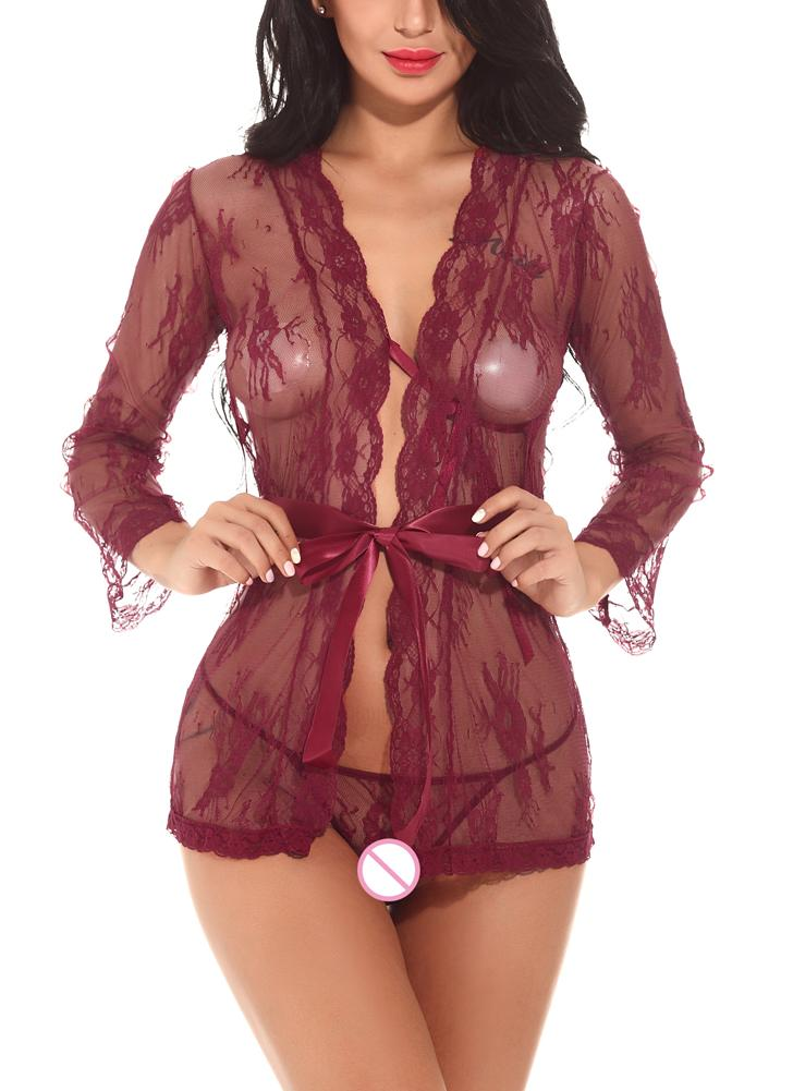 Сексуальное женское бельё женское бельё Комплект Babydoll G-String Комплект одиночного кимоно