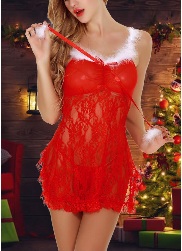 Sexy Exotic Women Christmas Babydoll Set G-string Sheer Lace Mesh Open Crotch Fur Holiday Snow Baby Costume Lingerie