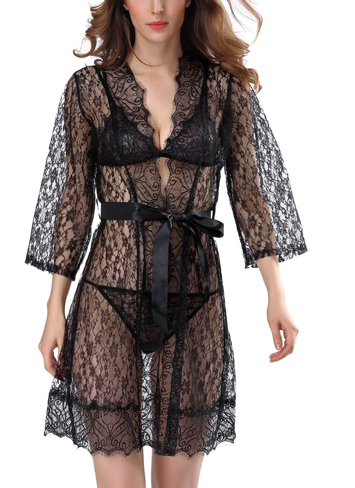 2888aedca4d Sexy Women Lingerie Sheer Lace Sleepwear Set