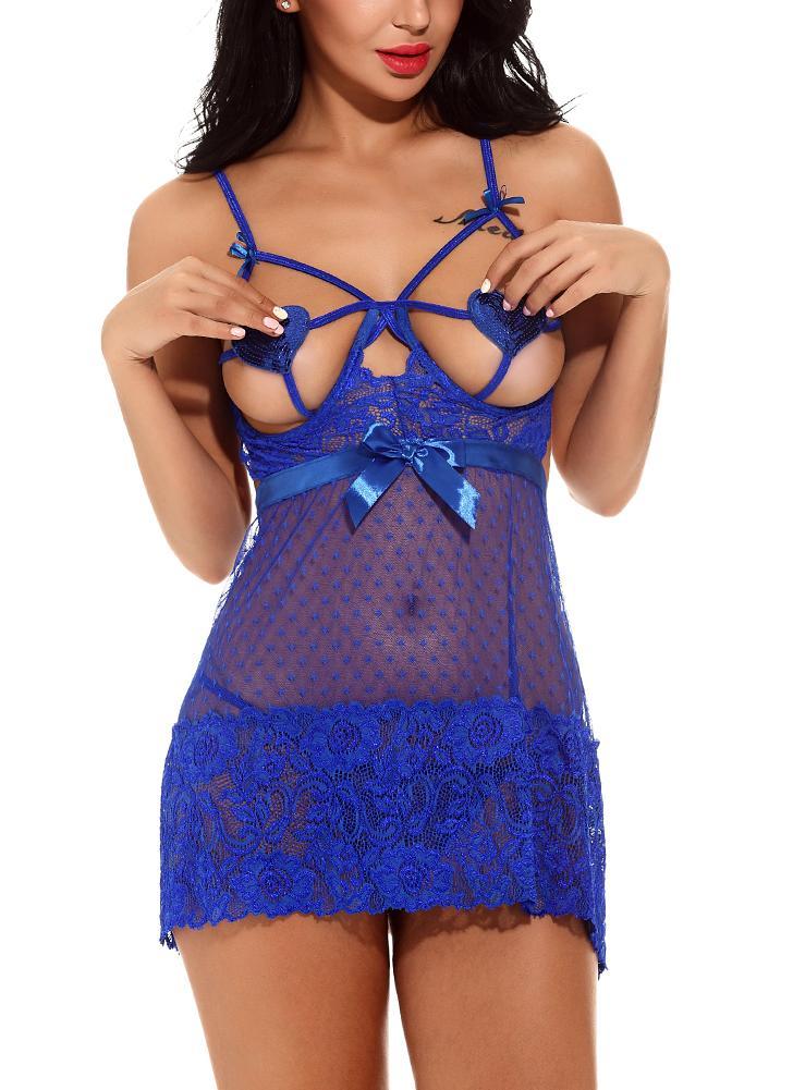 Women Lingerie Sleep Dress Sheer Lace  Backless Strappy Mini Dress Sleepwear G-String