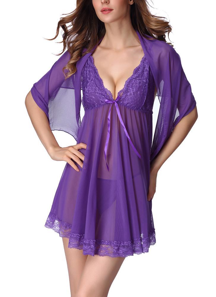 61d5d84f4f122 Semi-sheer Mesh Lace Trim Mini Dress Sleepwear