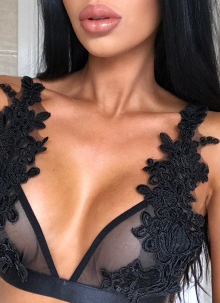 Mulheres Lingerie Floral Bordado Sutiã Bustier Sheer Top Bralette Taça Transparente Sutiã