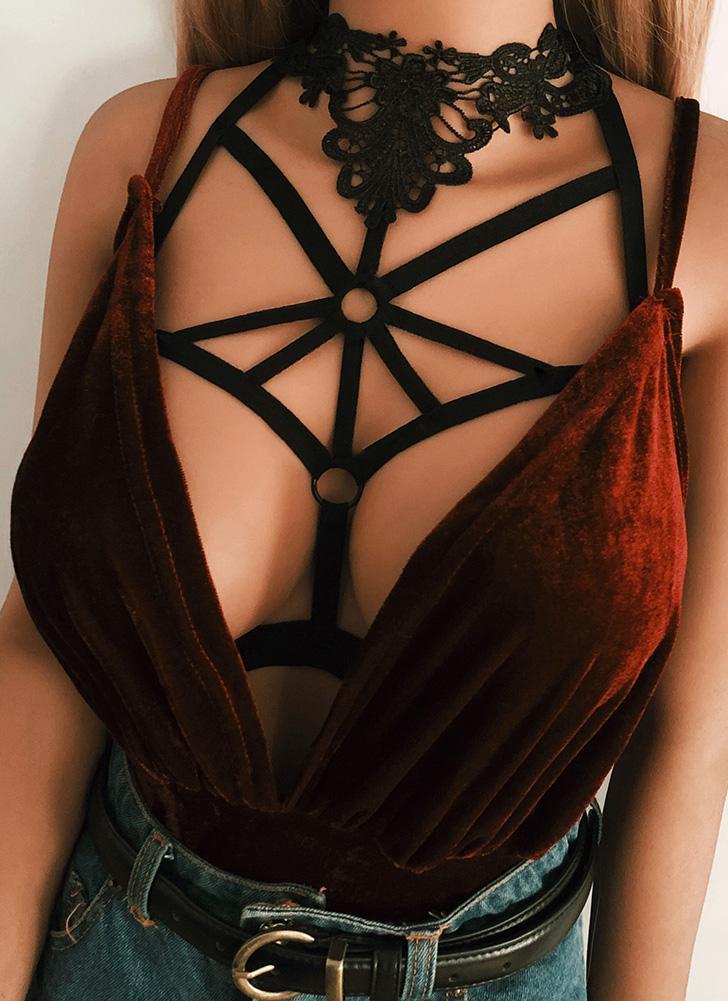 Cage Halter Crochet Lace Aucune Coupe Cut Out Strappy élastique Bandage Bra