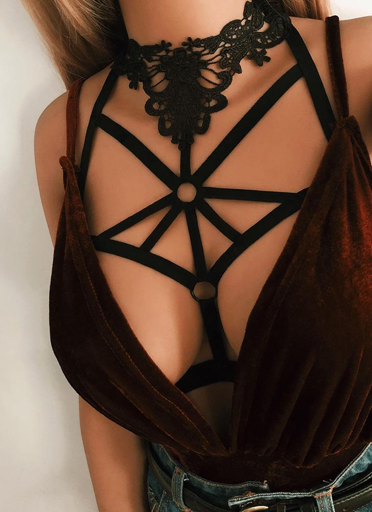 Cage Halter Crochet Lace None Cup Cut Out Strappy Elastic Bandage Bra
