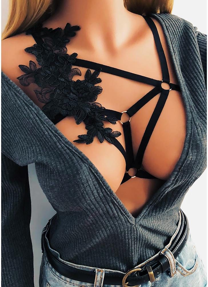 Women Cage Bra Strappy Cupless O-ring Hook Bikini Elastic Lingerie Crop Top Bralette
