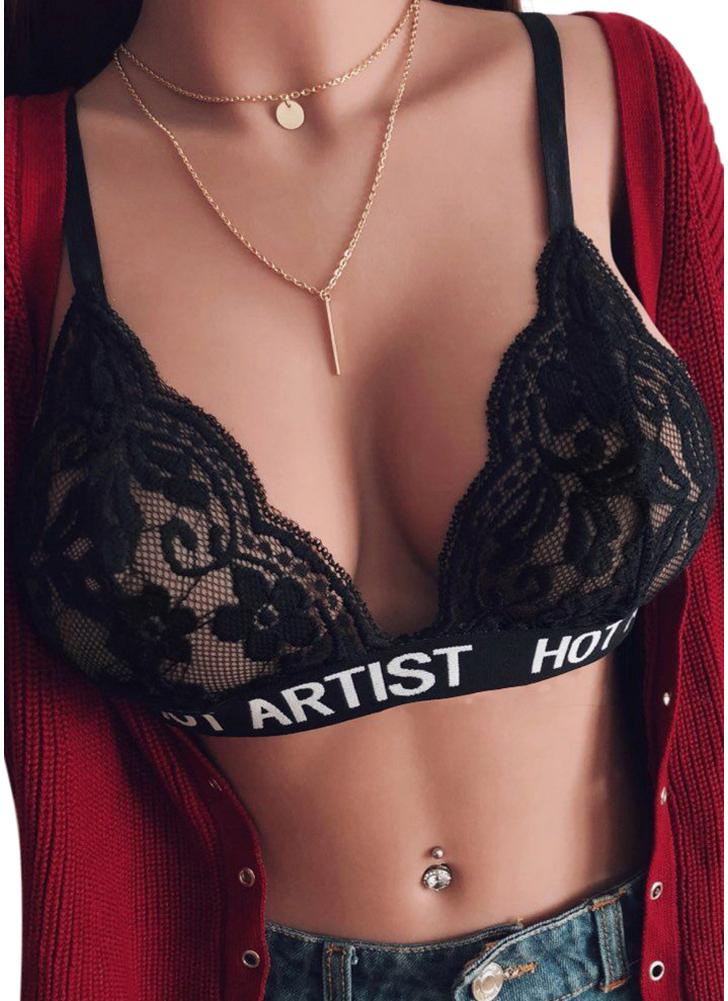Sexy Women Lace Bra Floral Lace Letters Print Wireless Unpadded See-through Lingerie Bralette