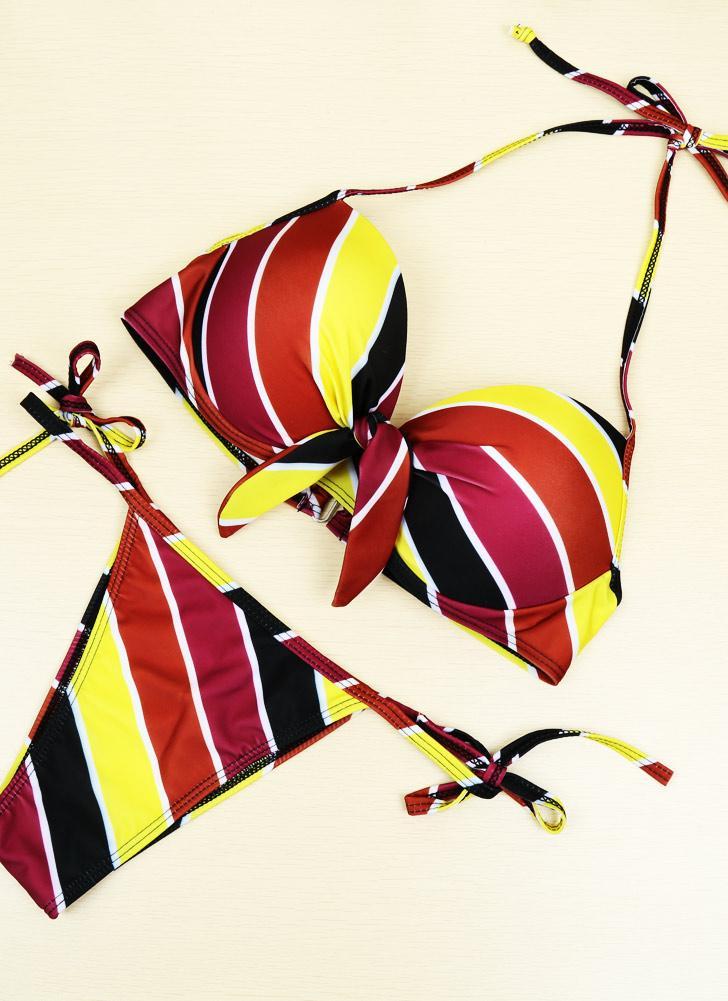 Contrast Stripe Underwire Padded Cup Tie Bikini Set Swimsuit