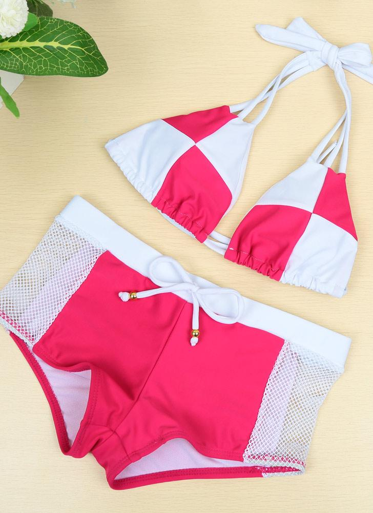 Neue Sexy Frauen Bikini Set Color Block Halter drahtlose gepolsterte zweiteilige Badeanzug Bademode Badeanzüge Rose