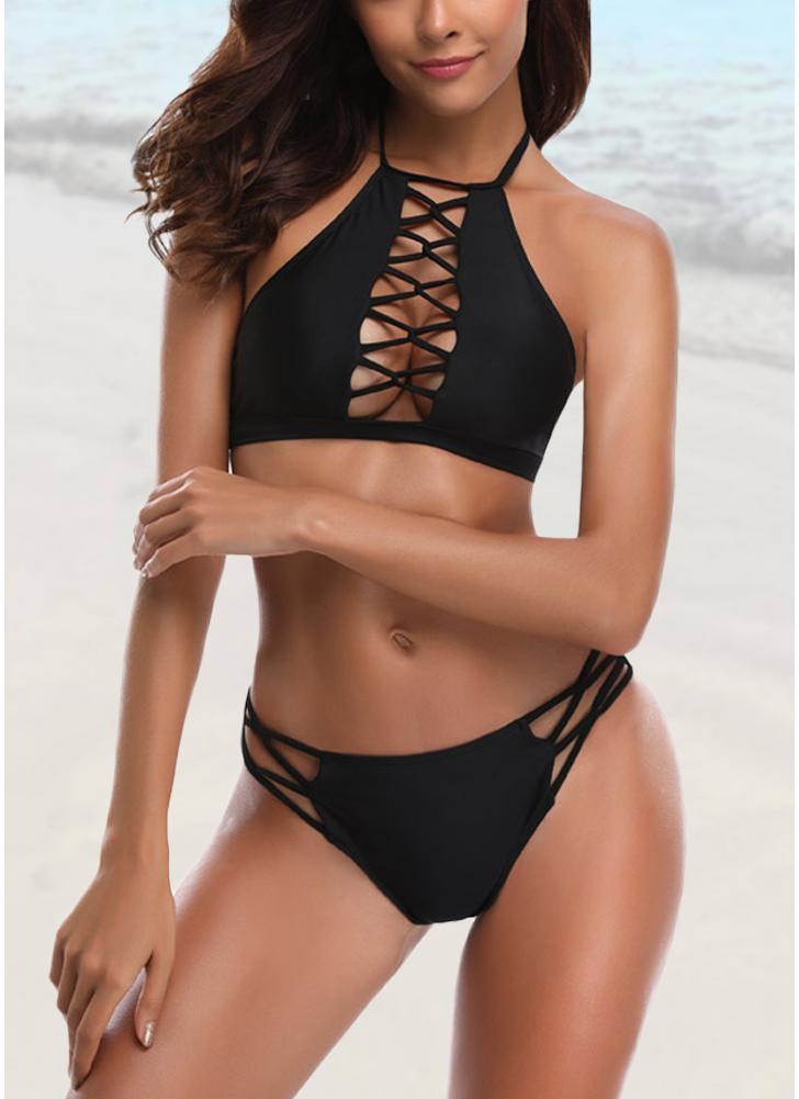 Criss cross Front Halter Solid Bikini Set