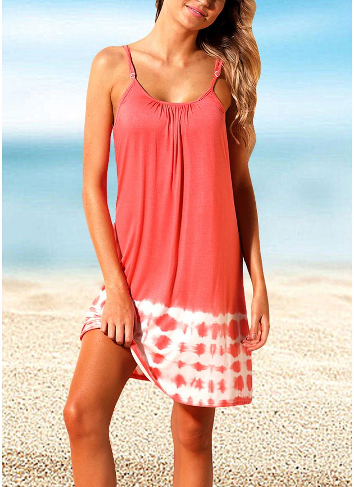 Femmes Summer Cover Ups Strappy dos cravate Dye Backless Bikini Cover Beachwear