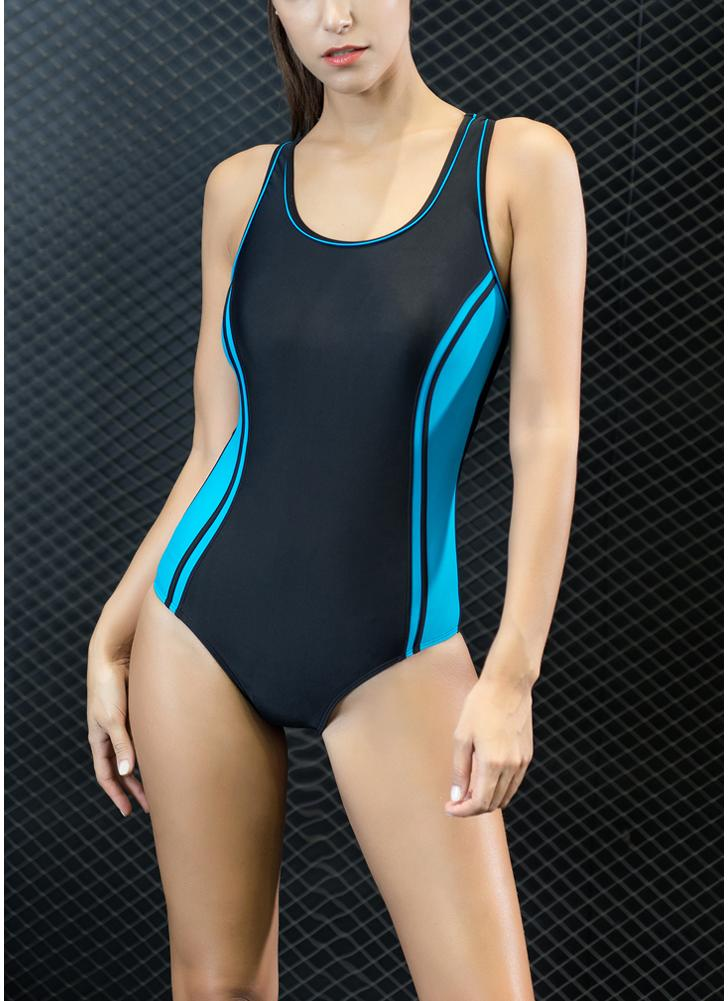 Esmagamento de bloco de cores do esporte Push Up Racer Backless One Piece Swimsuit