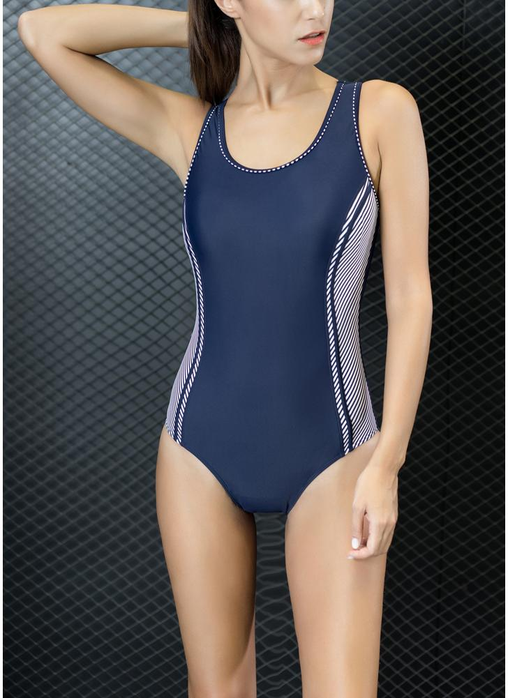Sport Color Block Splicing Push Up Racer Backless One Piece Swimsuit