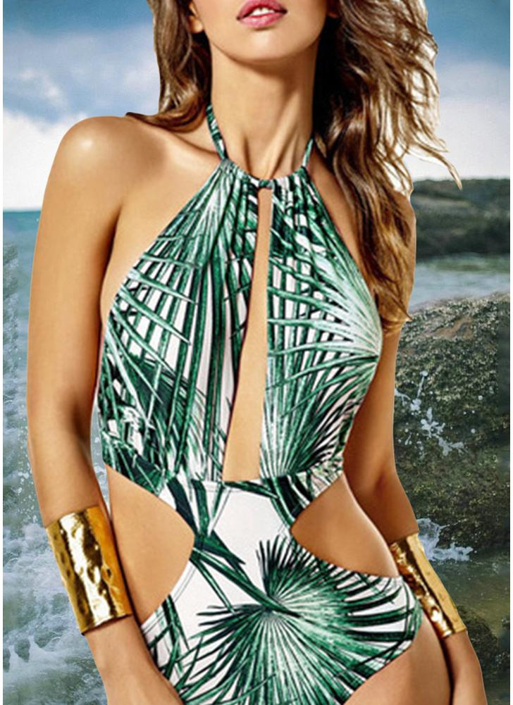 Plunge Backless Swimwear Leaf Print Padded Push Up One Piece Swimsuit