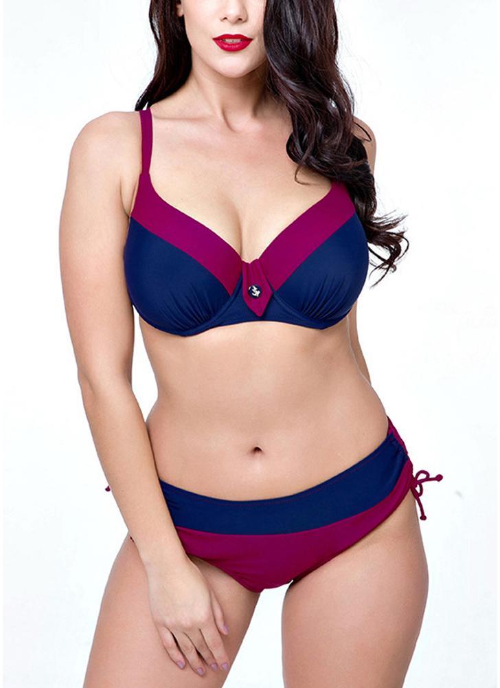 Bikini triangolare a due pezzi Plus Size Colorblock con ferretto